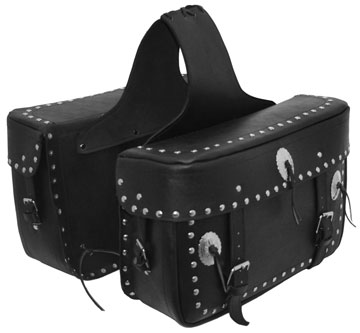 Saddle5 Leather Motorcycle Saddle Bags with Studs and Conchos