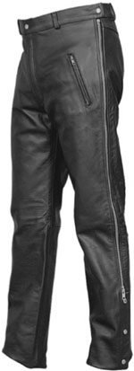 P2510 Cowhide Leather Motorcycle Zipper Pants Imported