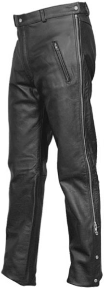 P2510 Mens Zipper Leather Pants with Elastic on Back