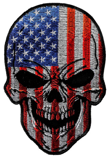 Red, White and Blue USA Flag Skull Motorcycle Patch Large View