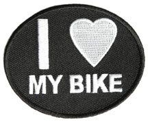 Oval Shape Patch I Love My Bike Black Twill with White Lettering