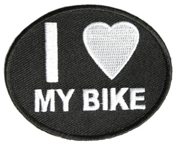 Oval Shape Patch I Love My Bike Black Twill with White Lettering Large View