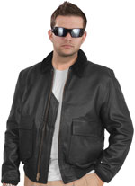 G1 Police Leather Bomber with Knit Cuffs & Waist