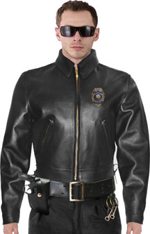 Police B Above The Gun Belt Patrol On Duty Biker Jacket