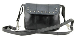 Purse-327 Ladies Studded Flap Over Cross Body Leather Bag