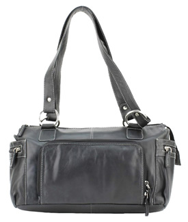 Purse - 9023 Leather Top Zipprer Double Strap Shoulder Bag