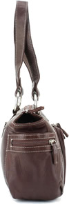 Click Here for the Purse - 9023 Leather Top Zipprer Double Strap Shoulder Bag Chestnut Side View