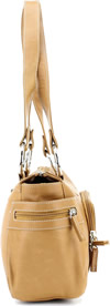 Click Here for the Purse - 9023 Leather Top Zipprer Double Strap Shoulder Bag Tan Side View