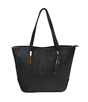 A175 Faux Leather Tote Bag with Top Zipper & Rose Gold Hardware