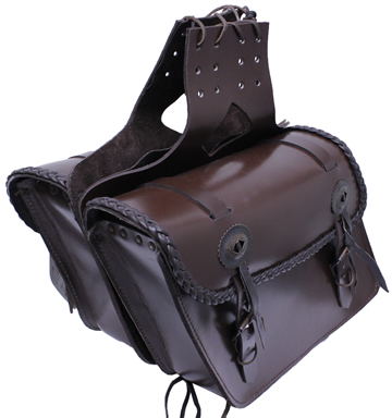 Saddle-1562 Brown Leather Motorcycle Saddle Bags with Braid nad Conchos Large View