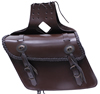 Saddle-1562 Brown Leather Motorcycle Saddle Bags with Braid nad Conchos Side View