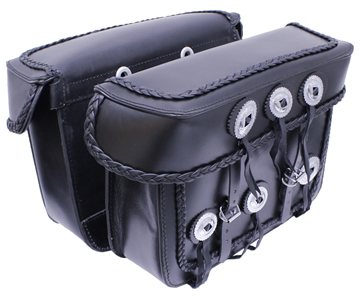 Saddle-1578 Black Leather Motorcycle Bolt-On Saddle Bags with Braid and Conchos Large View