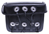 Saddle-1578 Black Leather Motorcycle Bolt-On Saddle Bags with Braid and Conchos Back View