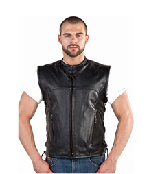 MENS LEATHER VEST--Kosac Collar and Side Laces