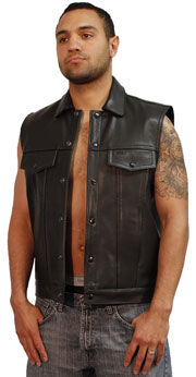 VDM3010 Black Denim Biker Vest with Leather Trim and Plain Sides