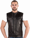 V8002 Mens Leather Motorcycle Club Vest with No Collar and Red Liner Back View