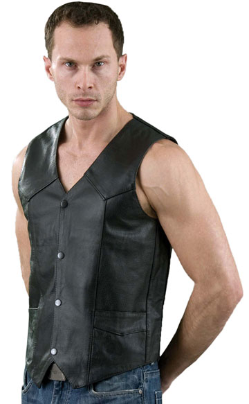V100 Mens Leather Motorcycle Basic Vest with Plain Sides Large View
