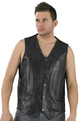 V1310T Mens Basic Tall Sizes Leather Vest with Plain Sides Main View
