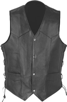V1310 Mens Leather Vest with Side Lacing