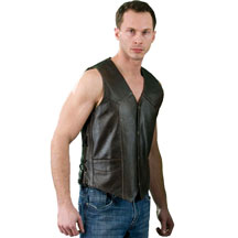 V1332RT Retro Brown Premium Leather Vest with Laces
