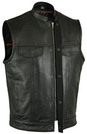 V188Z Men's Leather Club Vest with Square Finish Mandarin Collar and Hidden Snaps and Zipper and Two Gun Pockets
