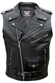 V2012 Mens Leather Vest Biker Jacket Style with Crossover Collar