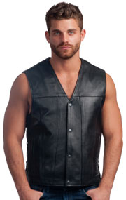 V2611 Mens Classic V-Neck Leather Vest with Side Laces