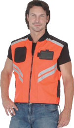 Orange Cordura Vest with Reflective Stripes