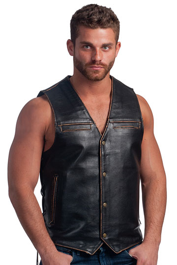 V2638 Mens Vintage Distress Brown Leather Vest with Side Laces Large View