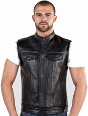 V320 Mens Club Vest with Short Collar Black Liner