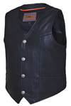 V330BF Mens Premium Leather Motorcycle Vest with Buffalo Coin Snaps Profile View
