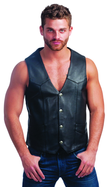 V330BF Mens Premium Leather Motorcycle Vest with Buffalo Coin Snaps Larger View