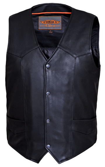 V330 Mens Premium Naked Leather Motorcycle Vest with Plain Sides Larger View