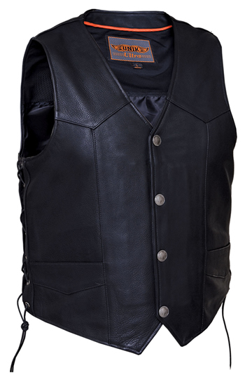 V331BF Mens Leather Motorcycle Vest with Buffalo Coin Snaps and Side Laces Larger View
