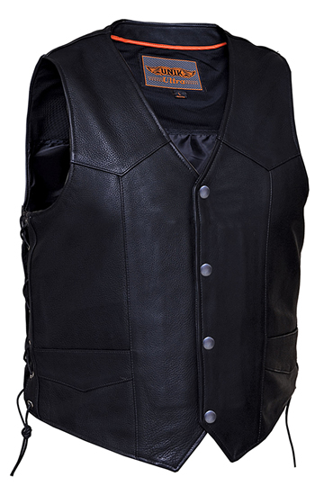 V331 Mens Premium Naked Leather Motorcycle Vest with Side Laces Larger View