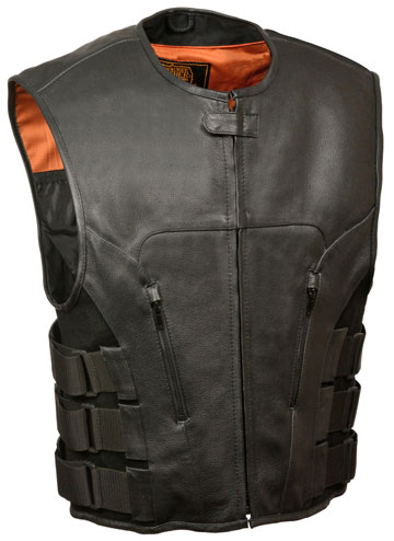 V3500 Mens Sport Motorcycle Leather Zipper Vest with Velcro Straps Click for Large View