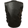 V3530 Mens Motorcycle Leather Biker Vest with Adjustable Velcro Leather Side Straps Back View