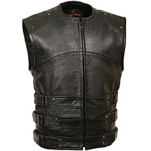 V3530 Mens Motorcycle Leather Biker Vest with Adjustable Velcro Leather Side Straps