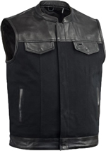 V4951CV-Collar Mens Heavy Canvas and Premium Leather Trim Motorcycle Club Zipper Vest with Short Mandarin Collar