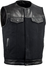 V4951CV-No Collar Mens Heavy Canvas and Premium Leather Trim Motorcycle Club Zipper Vest with Short Mandarin Collar