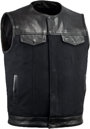 V4951CV-No Collar Mens Heavy Canvas and Premium Leather Trim Motorcycle Club Zipper Colarless Vest
