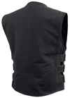 V660CV Men's Black Canvas Motorcycle Racing Vest with Velcro Straps Back View