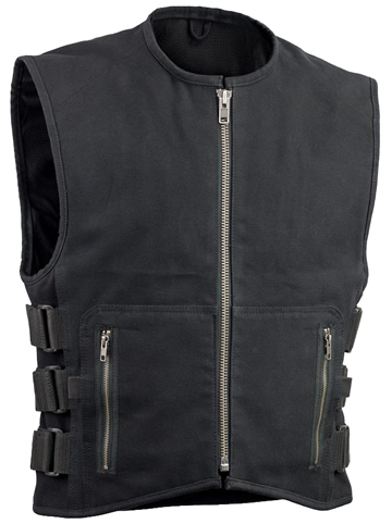 V660CV Men's Black Canvas Motorcycle Racing Vest with Velcro Straps Larger View