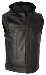 V687 Men's Leather Club Vest with Removable Hood