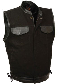 VDM3011 Black Denim Biker Vest with Leather Trim and Side Lacing