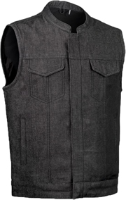 VDM689 Mens Charcoal Denim Motorcycle Club Zipper Vest with Collar