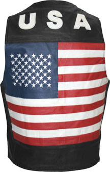 MENS LEATHER VEST WITH FLAG & USA LOGO