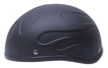 Bullet Beanie Novelty Helmet Flat Black with Embossed Flame